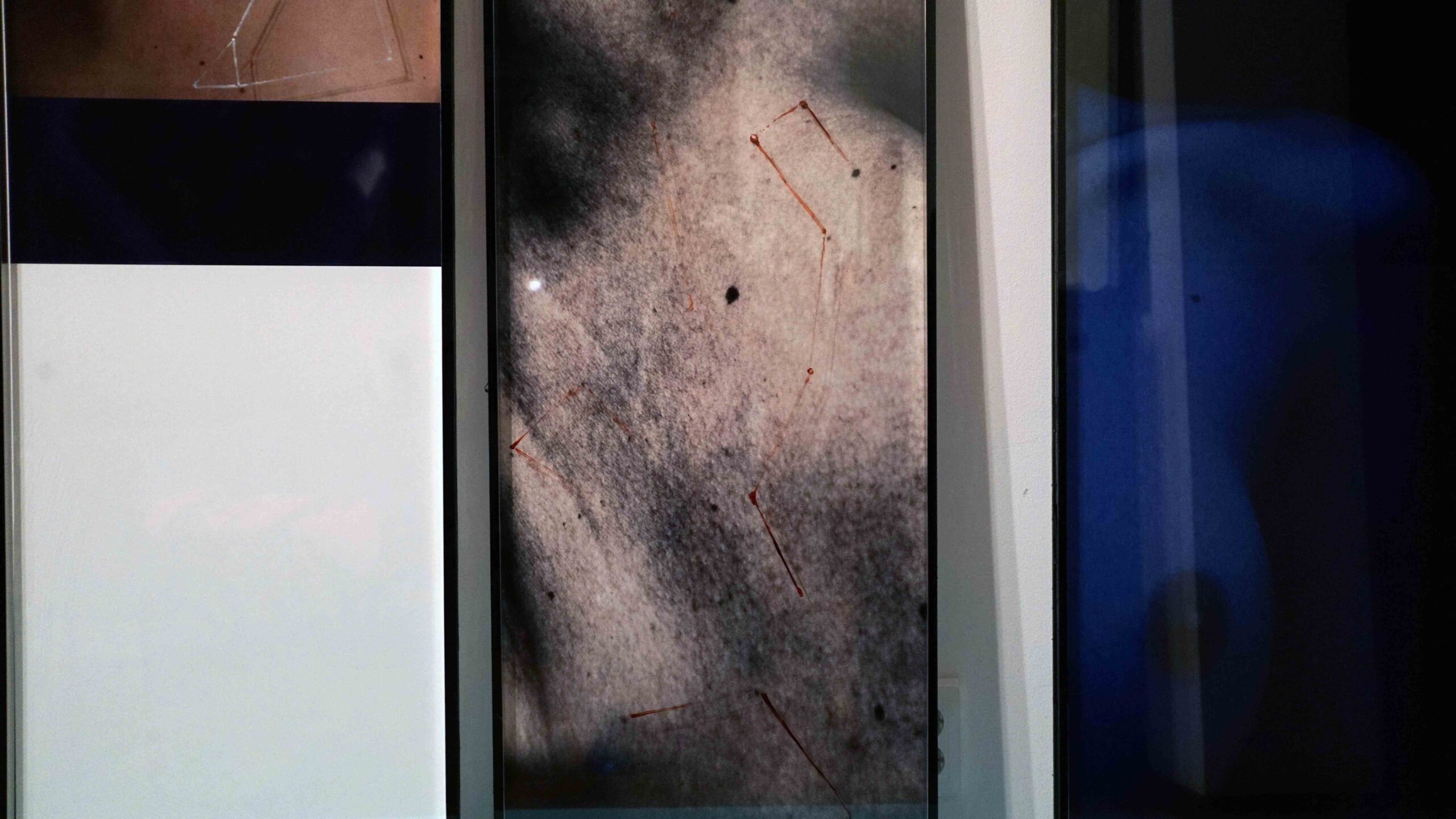 "Detail, ""Constellation on the Skin"", glass and canvas, mixed technique, 113 x 42 cm each work, 2016-2018."